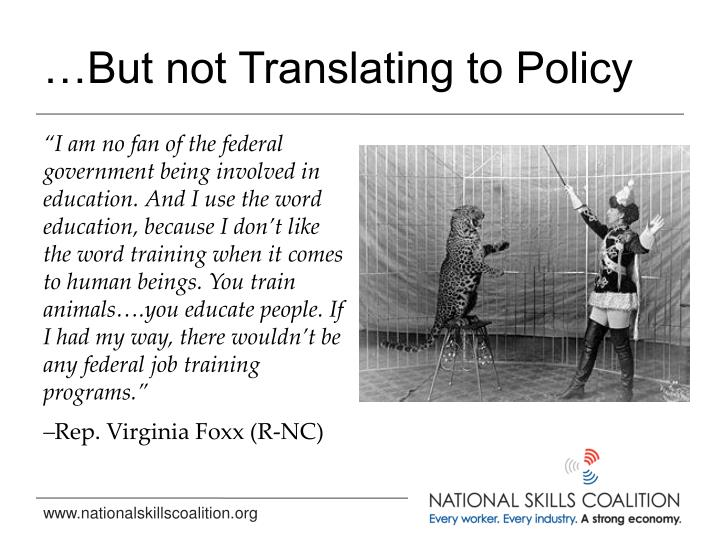 …But not Translating to Policy