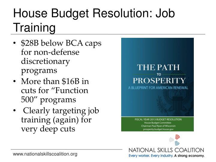 House Budget Resolution: Job Training