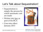 let s talk about sequestration