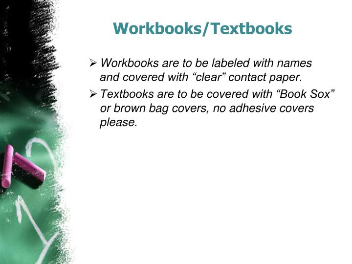 Workbooks/Textbooks