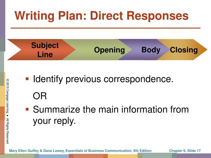 Writing Plan: Direct Responses