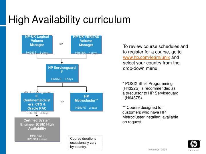 High Availability curriculum