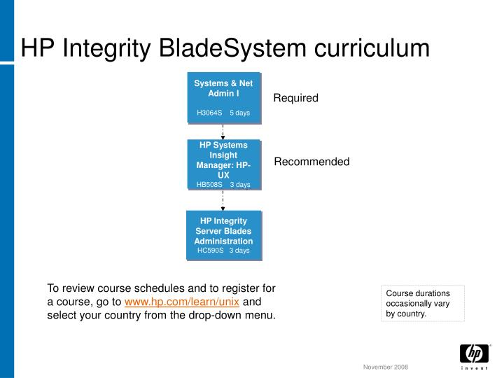 HP Integrity BladeSystem curriculum