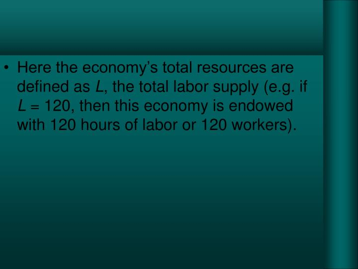Here the economy's total resources are defined as
