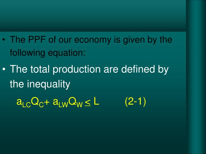 The PPF of our economy is given by the following equation:
