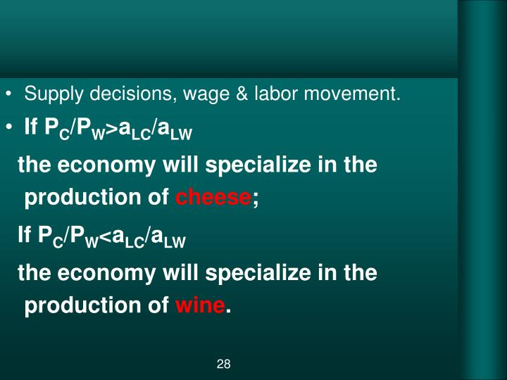 Supply decisions, wage & labor movement.
