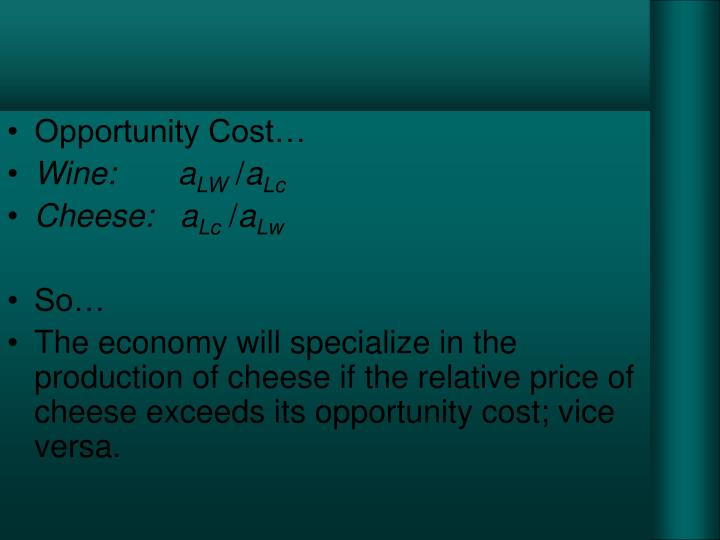 Opportunity Cost…