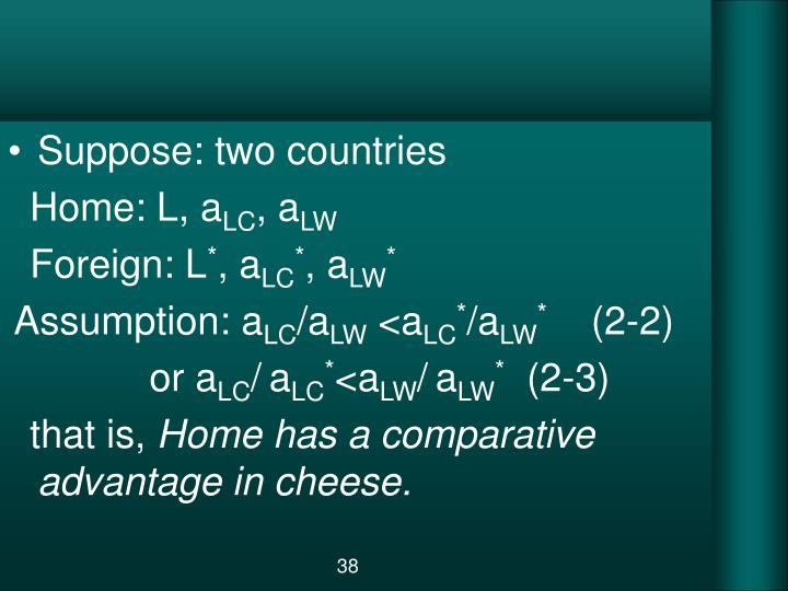Suppose: two countries