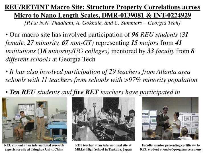 REU/RET/INT Macro Site: Structure Property Correlations across Micro to Nano Length Scales, DMR-0139081