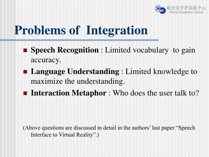 Problems of  Integration