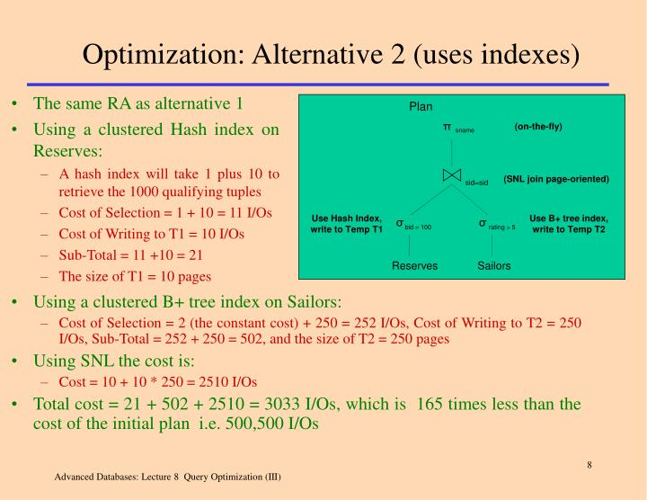 Optimization: Alternative 2 (uses indexes)
