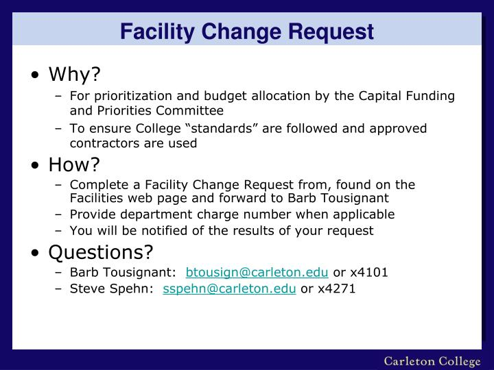 Facility Change Request