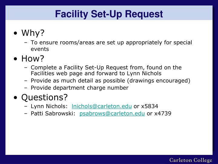 Facility Set-Up Request
