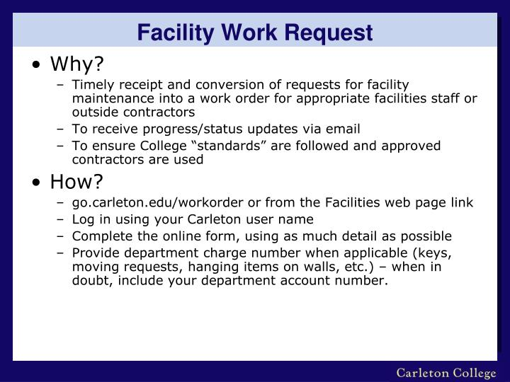 Facility Work Request