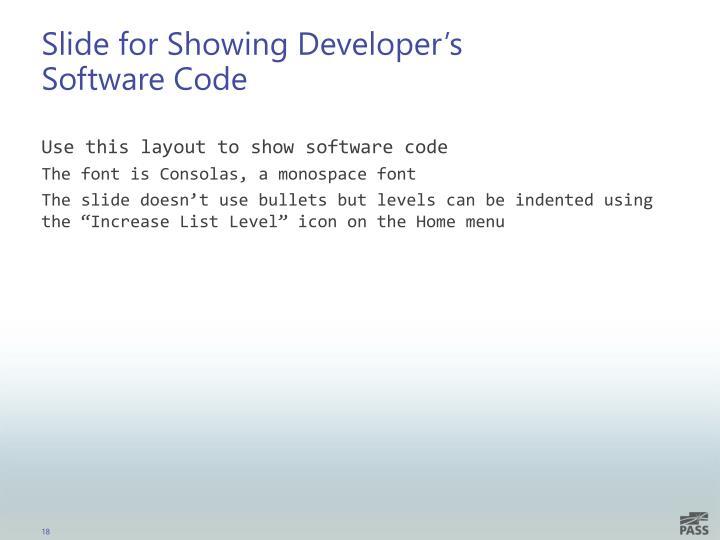 Slide for Showing Developer's