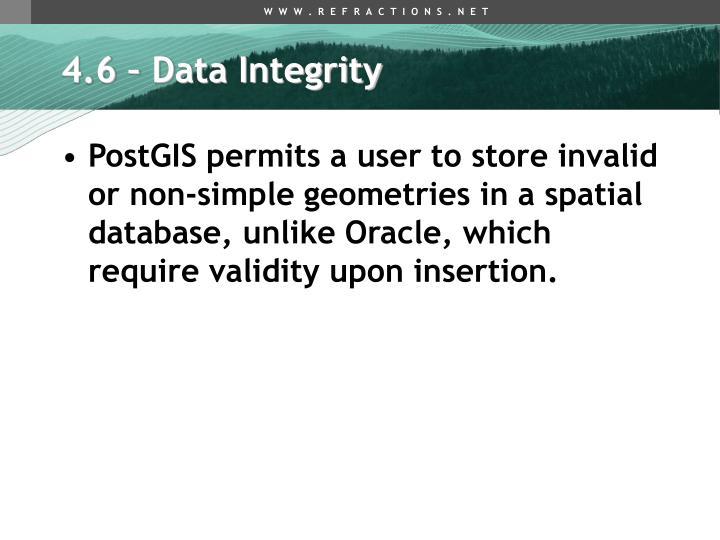 4.6 – Data Integrity
