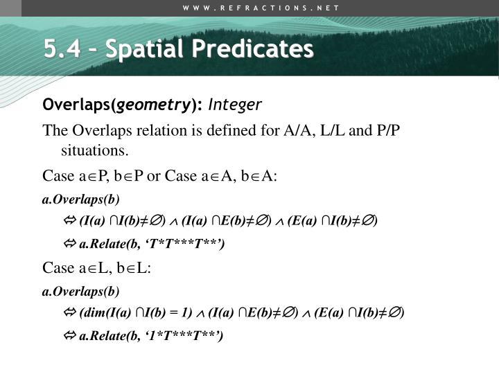 5.4 – Spatial Predicates
