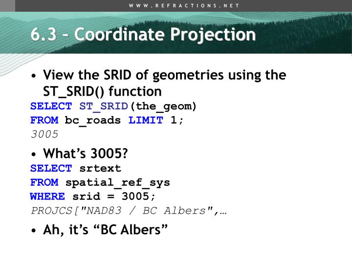 6.3 – Coordinate Projection