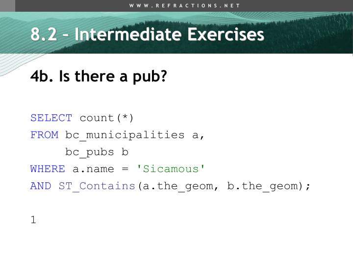 8.2 – Intermediate Exercises
