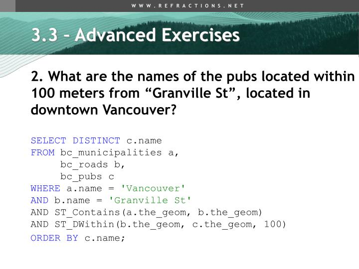 3.3 – Advanced Exercises