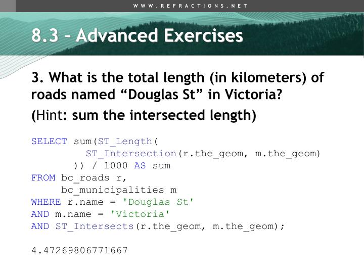 8.3 – Advanced Exercises