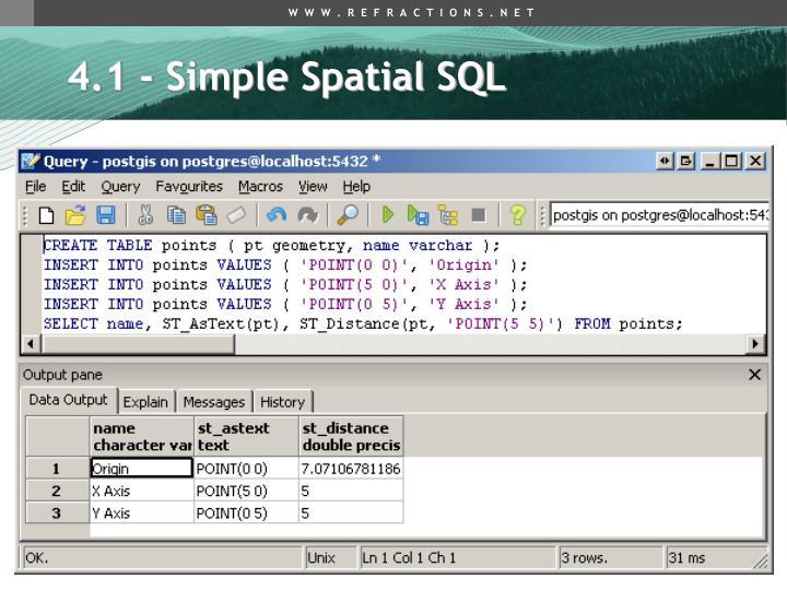 4.1 - Simple Spatial SQL