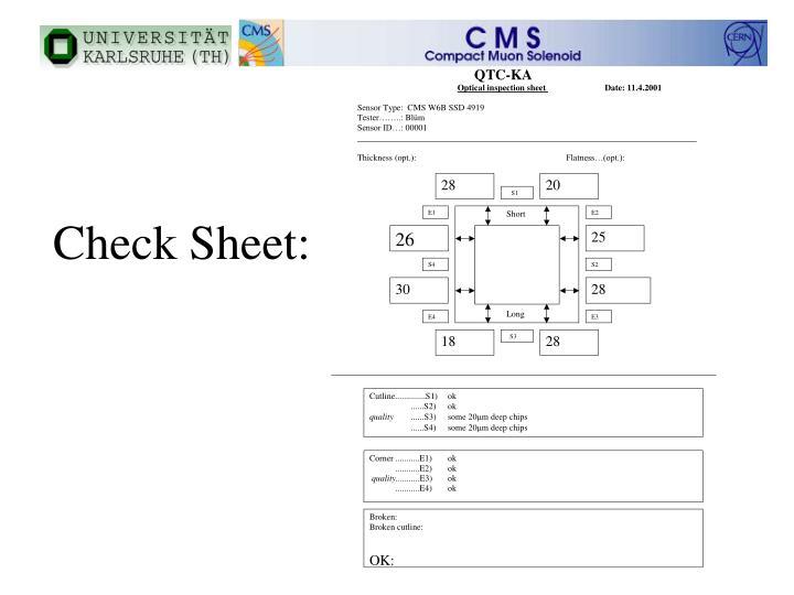 Check Sheet: