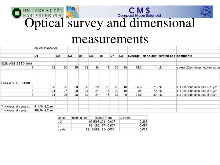 Optical survey and dimensional measurements