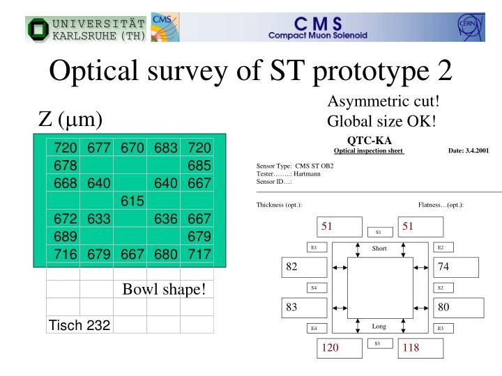 Optical survey of ST prototype 2