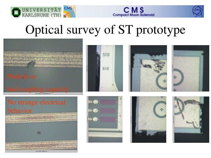 Optical survey of ST prototype