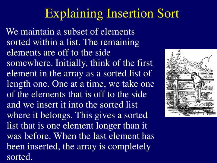 Explaining Insertion Sort