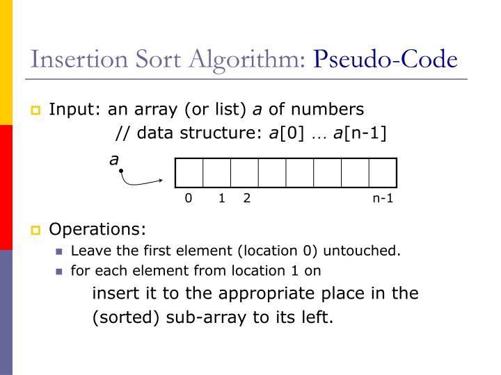 Insertion Sort Algorithm: