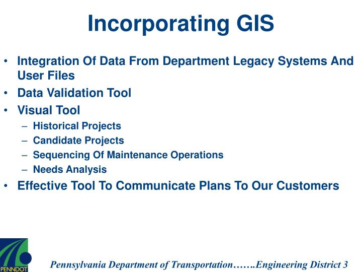 Incorporating GIS
