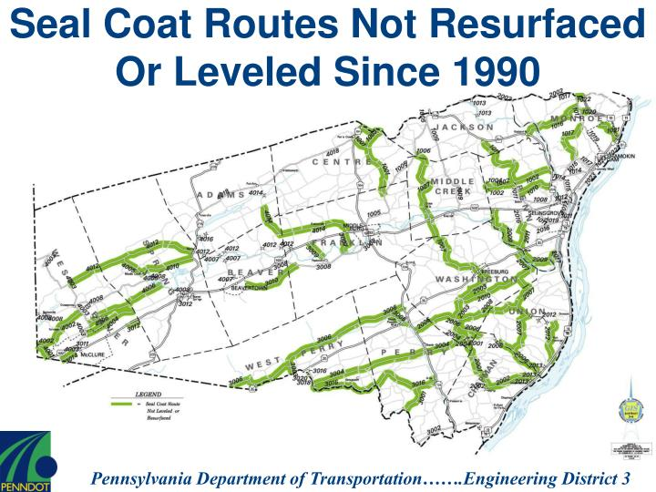 Seal Coat Routes Not Resurfaced Or Leveled Since 1990