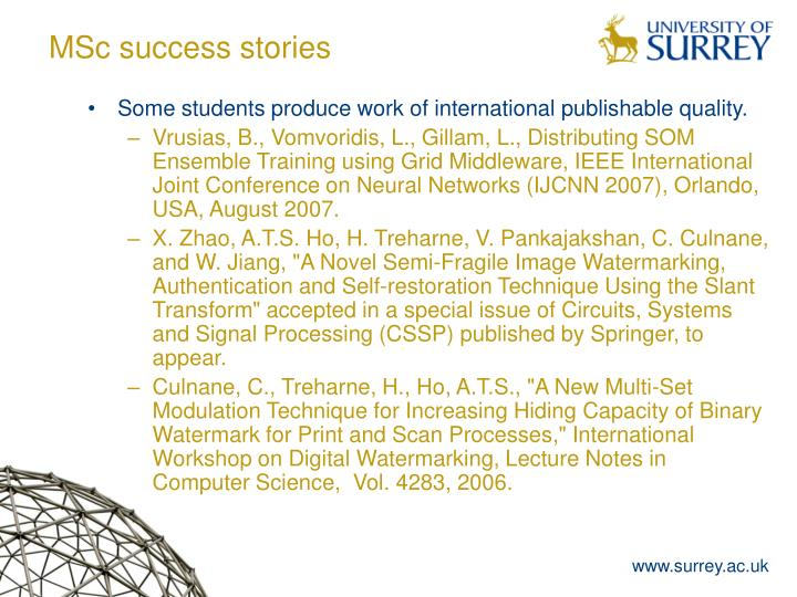 MSc success stories