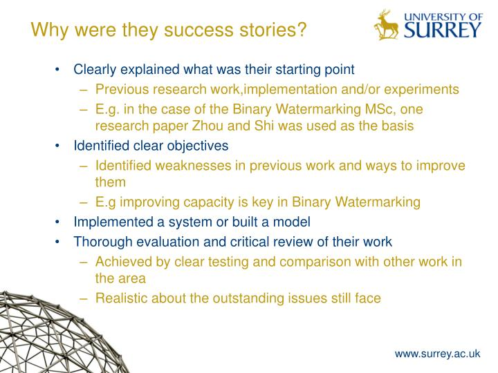 Why were they success stories?
