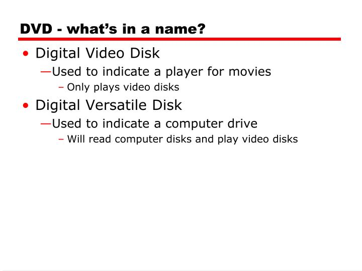 DVD - what's in a name?