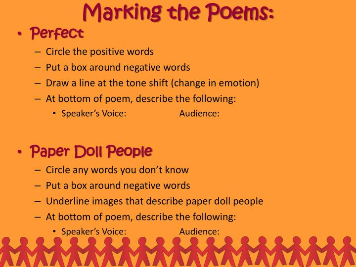 Marking the Poems: