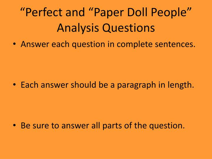 """Perfect and ""Paper Doll People"" Analysis Questions"