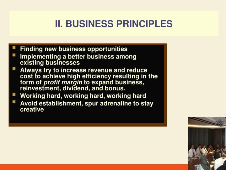 II. BUSINESS PRINCIPLES