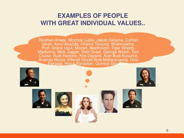 EXAMPLES OF PEOPLE