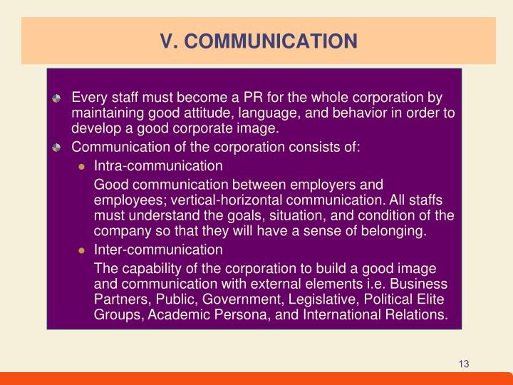 V. COMMUNICATION
