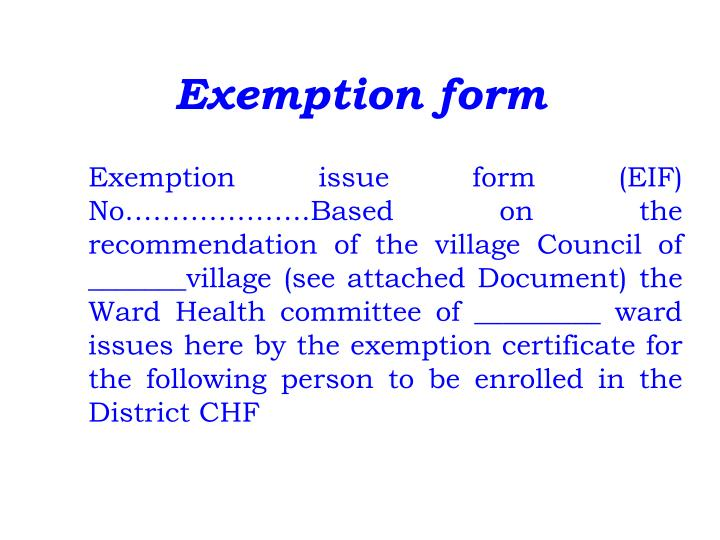 Exemption form