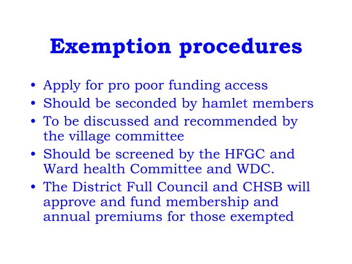 Exemption procedures