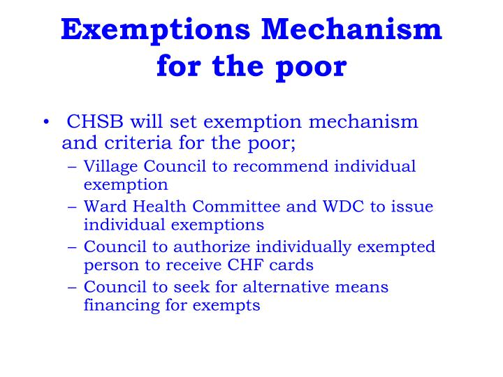 Exemptions Mechanism for the poor