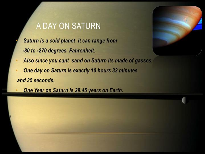 A day on Saturn