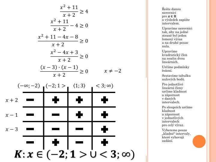 Řešte danou nerovnici