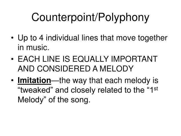 Counterpoint polyphony