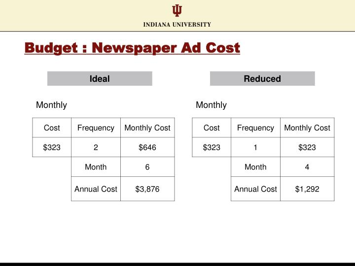 Budget : Newspaper Ad Cost