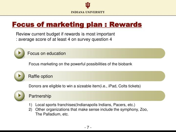 Focus of marketing plan : Rewards